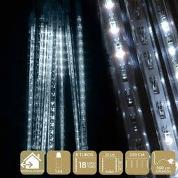 GUIRNALDA 144 LEDS EN TUBO METAL BLANCO