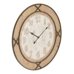 RELOJ NATURAL-BLANCO DM-METAL 80 X 4 X 80 CM